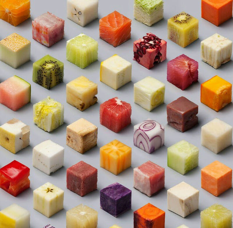 Food organizing photo project -- cubes