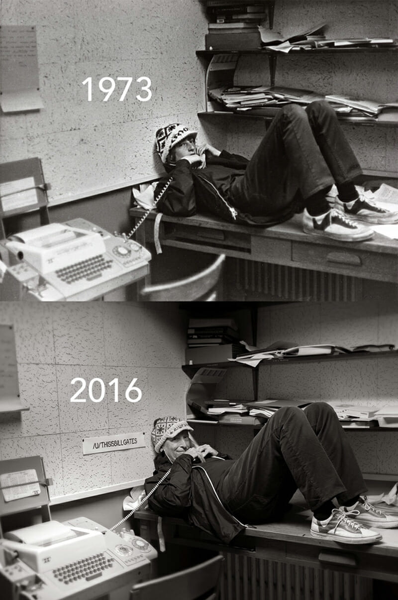 Then-and-now portrait of Bill Gates