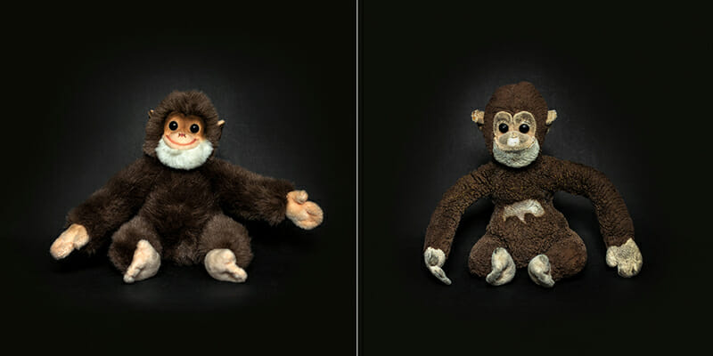 Before-and-after images of kids' plush toys by Katja Kemnitz