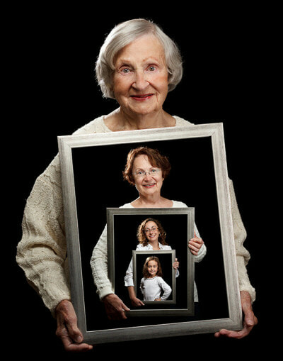 Photo album of woman as she ages