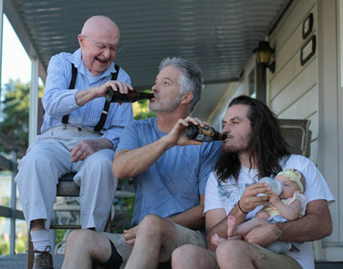 Hilarious picture of four generations sharing a drink