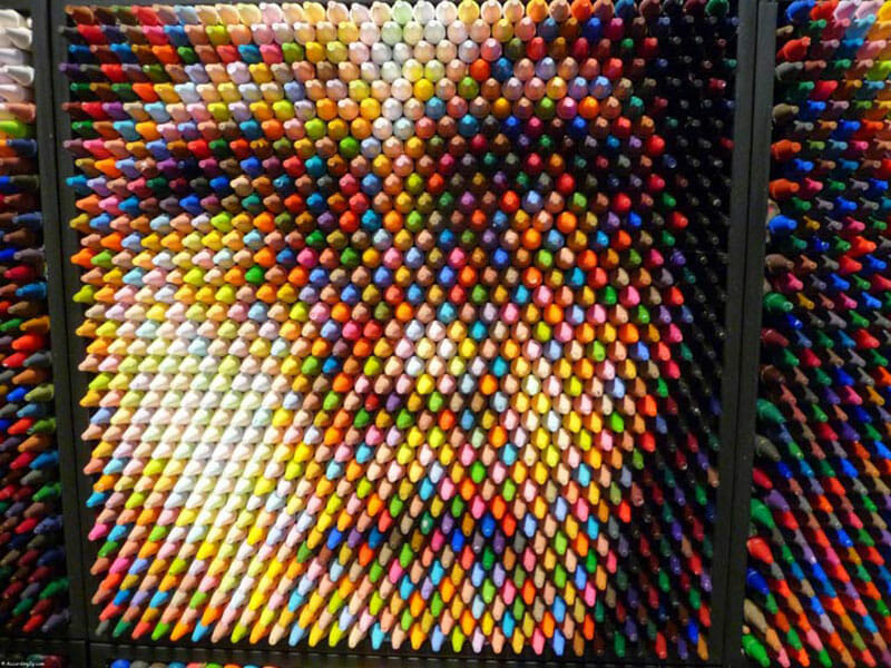 Pixel play: one of Christian Faur's crayon portraits