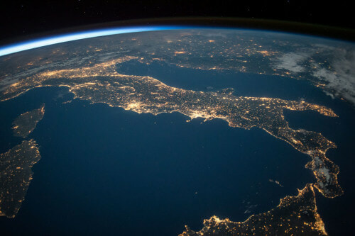 Photo over Italy at Night