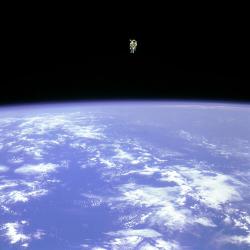 In 1984, Mission Specialist Bruce McCandless II goes farther away than any other astronaut had been at this point