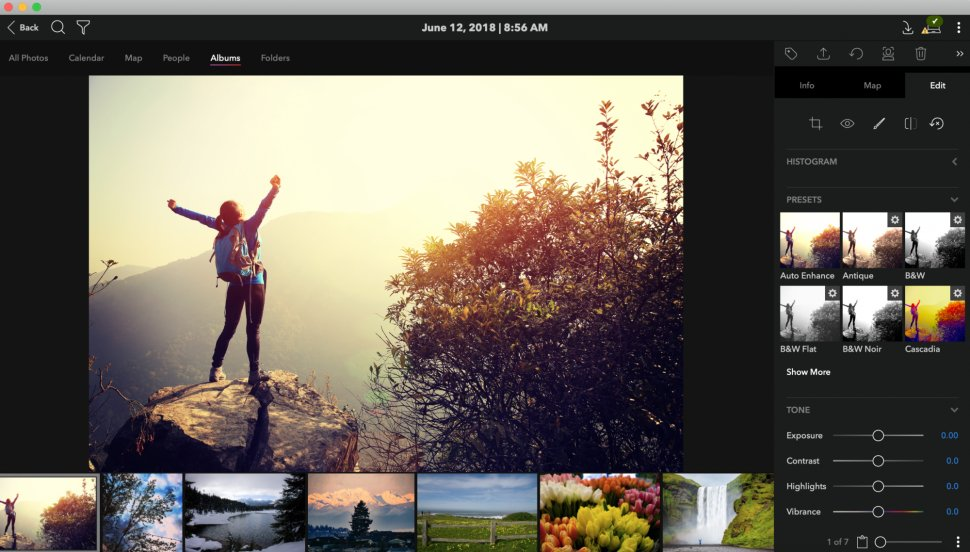 Mylio UI with photos of a joyful traveler
