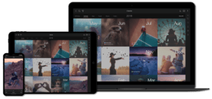 Mylio library on a phone, tablet, and laptop
