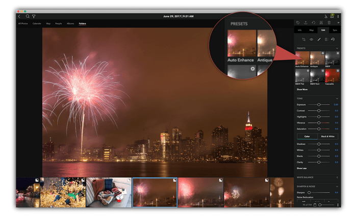 Auto-Enhancing a picture of fireworks is great for fast edits