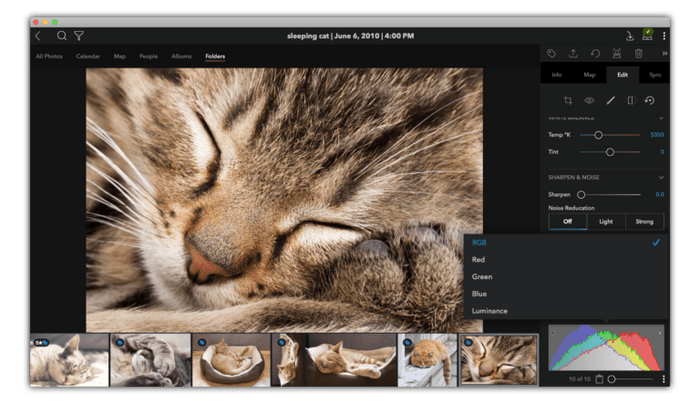 Adjusting the histogram on a kitty pic