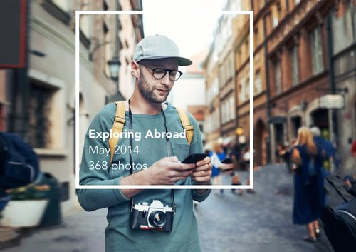 Traveler using his phone to find a photo